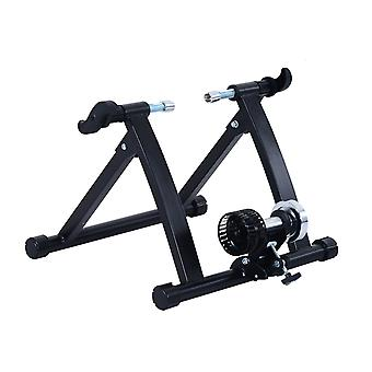 HOMCOM Deluxe Indoor Bicycle Trainer Stand Fan Fly Wind Wheel with Foldable Turbo Trainer & Noise Reduction Wheel for Road Bike - Black
