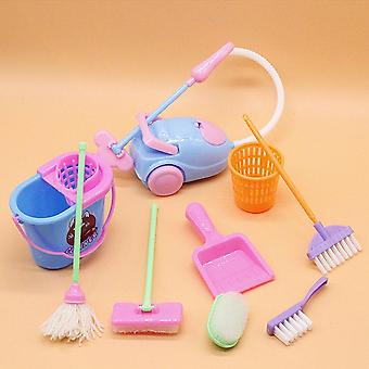 Miniatur-Mop, Dustpan, Eimer, Pinsel, Hausarbeit Reinigungswerkzeuge Set, Puppenhaus