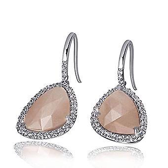 Guldmaidörhängen för kvinnor Silver oxiderad rosa månsten