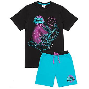 Space Jam Pyjamas For Men | Adults Looney Tunes Tune Squad Bugs Bunny Black T Shirt With Blue Shorts | A New Legacy Movie Merchandise