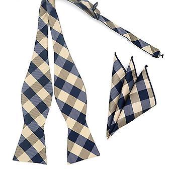 Grijs selectievakje patroon zelf gebonden strikje & zak vierkante set