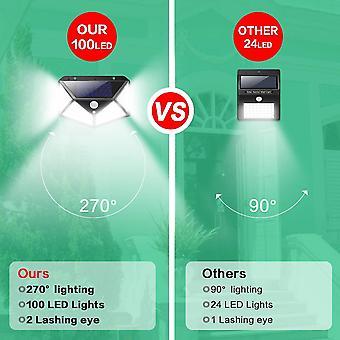 Outdoor solar lamp 100 led outdoor solar lighting motion detector solar light with 3 lighting modes- 2pack dt7104