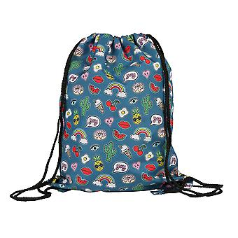 Sass & Belle Patches & Pins Drawstring Bag