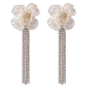 Long Earrings Tassel Flowers Alloy Crystal Pearl Earrings For Party
