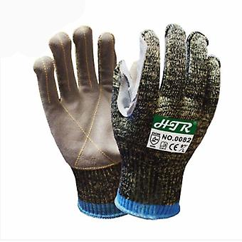 Steel Wire Anti Cut Gloves Leather Coating Level 5 Potection Gloves