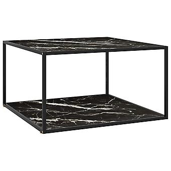 vidaXL Side table Black with glass in marble look 90x90x50 cm