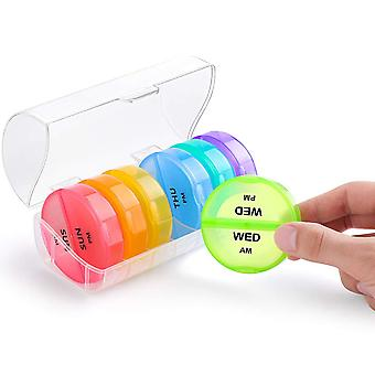 Swotgdoby Weekly Pills Organizer, Twice-a-day, Colorful Clamshell Pill Containers