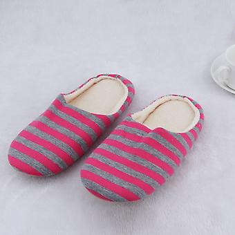 Tissu rayé Bas Couples Femmes Hommes Chaussons chauds Chaussures antidérapantes