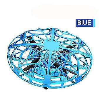 Mini Drone UFO Flying Helicopter Spinner Fingertip Hand (Bleu)