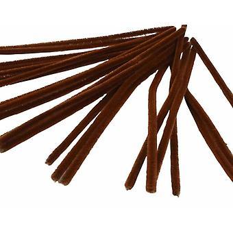 25 Bruine 9mm Chunky Pipe Cleaners voor rendiergeweien | Chenille Stengels