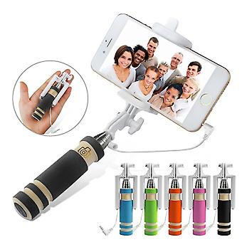 (Black) Kodak Ektra Universal Adjustable Mini Selfie Stick Pocket Sized Monopod Built-in Remote Shutter