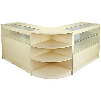 Retail Counters Winkel Opslag Maple Planken Display Kabinet Showcase Glas Maagd