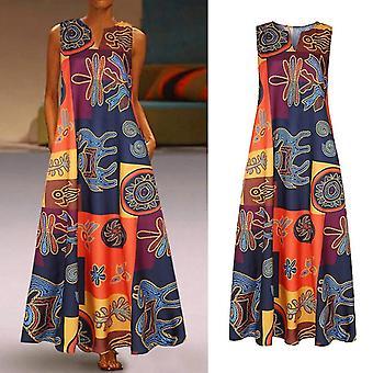 Frauen Sommer Vintage Casual Bedrucktes ärmelloses Kleid