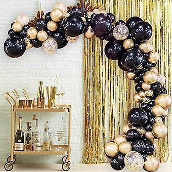 90 stuks zwart chroom gouden confetti ballonnen voor bruiloft verjaardag partij ballon sets