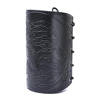 Retro náramok podperný kožený náramok vyrytý s wolfhead vzormi strunovaný voskovým lanom
