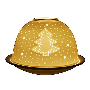 Light-Glow Christmas Tree Lithophane Dome Tealight Candle Holder