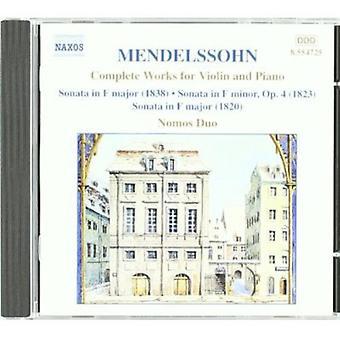 F. Mendelssohn - Mendelssohn: Täydellinen teoksia viululle ja pianolle [CD] Yhdysvallat tuontia varten