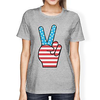 7 月 4 日のネック t シャツ ラウンド ピースサイン アメリカ国旗レディース グレー