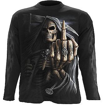 Spiral-Bone finger-mens långärmad t-shirt, svart
