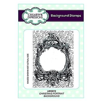 Creative Expressions Background Rubber Stamp Christmas Portrait**^