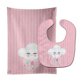 Carolines Treasures  BB8717STBU Rain Cloud Baby Bib & Burp Cloth