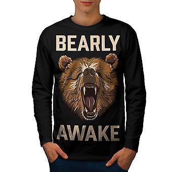 Bearly Grizzly Awake Men BlackLong Sleeve T-shirt | Wellcoda