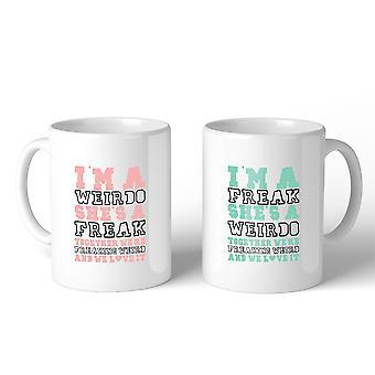 Weirdo Freak BFF passende Geschenk Kaffee Tassen 11 Oz für beste Freunde
