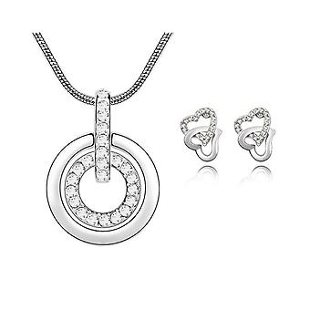 Womens Clear Crystal Pendant Necklace With Matching Love Heart Earrings Set