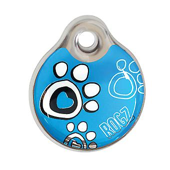 Rogz ID-Tagz Paw Design Dog Collar Tag, Instant Turquoise