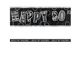 Bannière anniversaire Glitz noir & Silver 80e anniversaire prisme