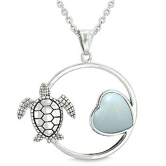 Süße Schildkröte Amulett magische Kreis Herz Medaillon positiven Kräfte Opalite Anhänger Halskette