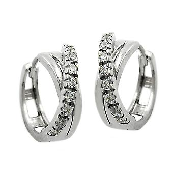Silver Creole Klappcreole crossed white Creole of cubic zirconia 925 Silver rhodium-plated
