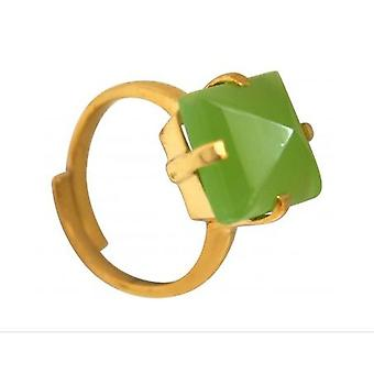 Ladies - size Adjustable ring - 925 Silver gold plated - chalcedony - Green - 12 mm-