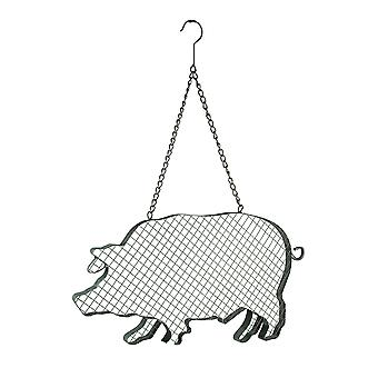 Metal and Mesh Wire Hanging Pig Farmhouse Decor