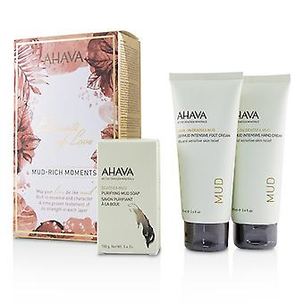 Ahava Elements Of Love Mud-rich Moments Gift Set: Hand Cream 100ml + Foot Cream 100ml + Purifying Mud Soap 100g - 3pcs