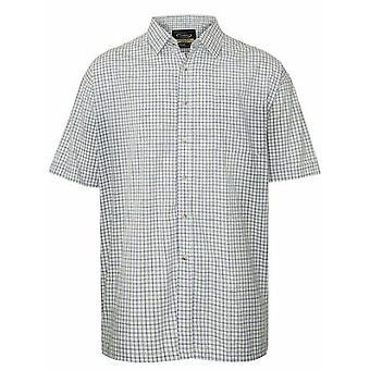 Champion Mens EasyCare Casual Short Sleeve Shirt M Tattersall - Blue