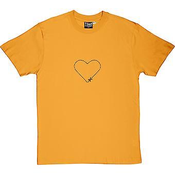 Cut-Out Heart Yellow Men's T-Shirt