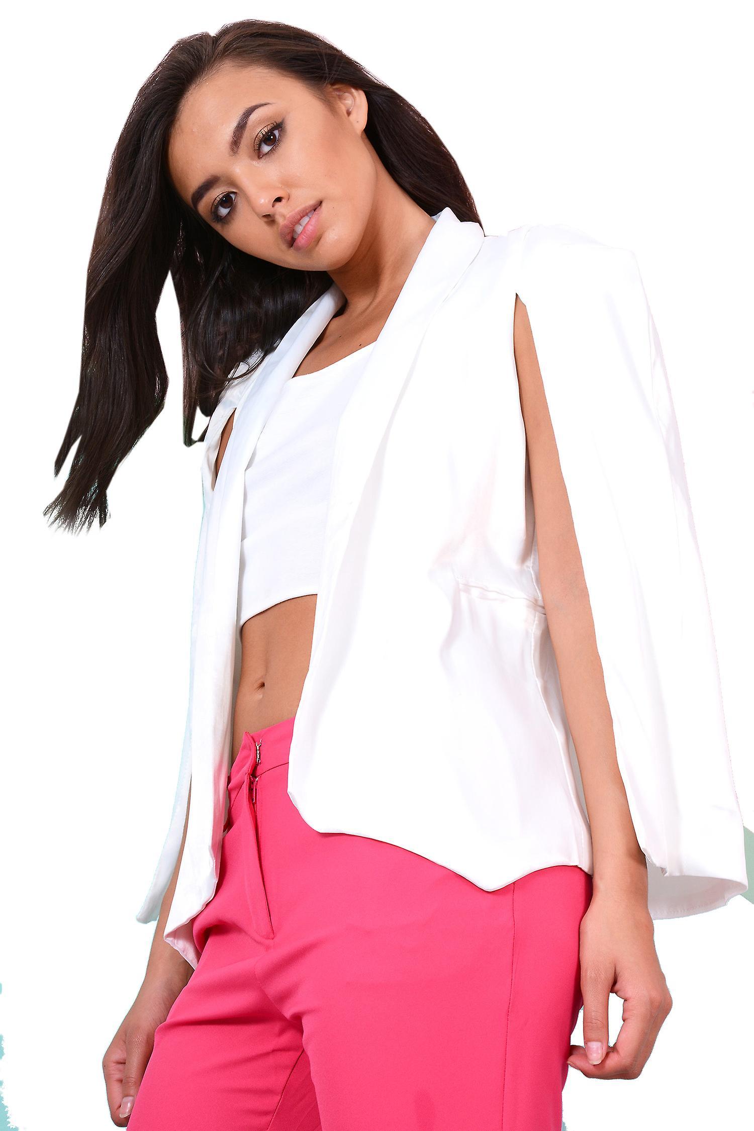 Lovemystyle White Blazer With Cape Split Sleeves