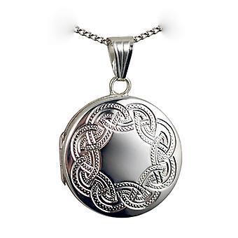 Mano d'argento 23mm tondo piatto Celtic Medaglione inciso con un cordolo Chain 24 pollici