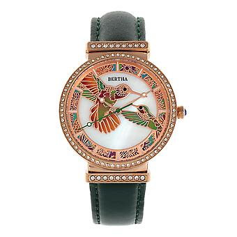 Bertha Emily Mother-Of-Pearl Leather-Band Watch - Rose Gold/Green