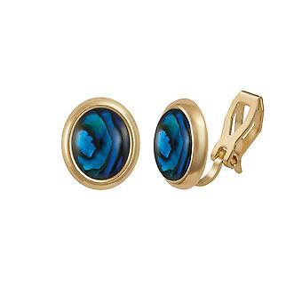 Éternelle Collection menuet bleu coquillage Paua doré Stud Clip boucles d'oreilles