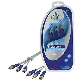 Audio/Video Cable, RCA (3x), RCA (3x), 1.5 m