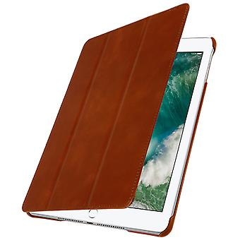 iPad 9.7 Case (2017) Trifold Case Multipositions Brown Leather-2 Mode Support