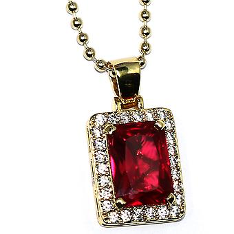 18k Gold Plated CZ Framed Ruby Pendant 20mm with 30 inch Ball Chain High Quality