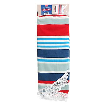 Country Club Round Stripe Beach Towel, Blue and Grey