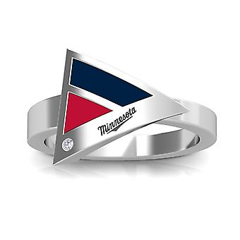 Minnesota Twins Engraved Sterling Silver Diamond Geometric Ring In Blue and Red