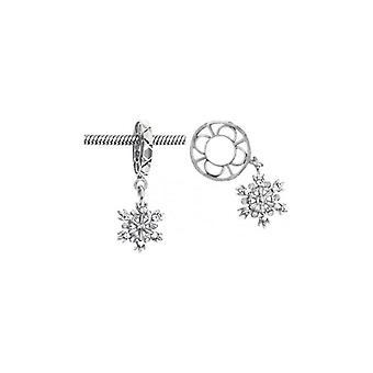 Storywheels الفضة & الماس ندفة الثلج تتدلى سحر S025D
