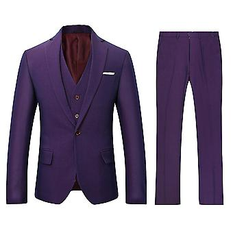 Allthemen Herren ansuits Slim Solid Suit Jackets Casual&Business Purple Romantic Charm 3-Pieces Blazer&Trousers&Vest