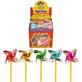 Henbrandt Childrens/Kids Mini Foil Windmill/Pinwheel (Box Of 60)