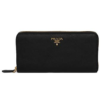 Prada Black Saffiano Leather Zip-Up Wallet 1ML506 QWA F0002